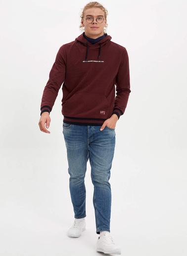 DeFacto Kapüşonlu Baskılı Slim Fit Sweatshirt Bordo